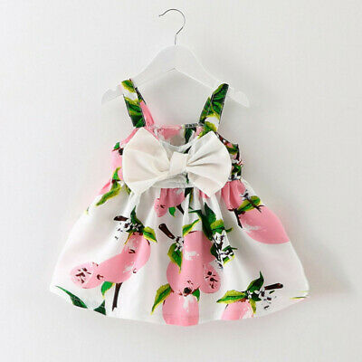 Baby Girl Clothes Fruit Printed Infant Outfit Sleeveless Princess Mini Dress UK