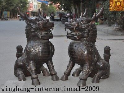 """24""""huge Old antique China FengShui Bronze Chi-Lin Kilin Qilin Animal statue Pair"""