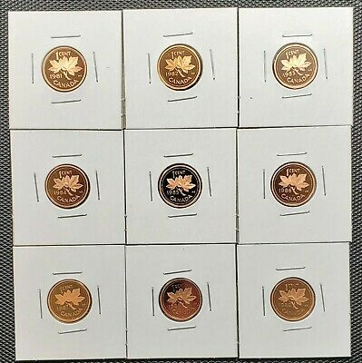 Canada 1981 - 1989 Set of 9 Different 1 Cents Proof Cameo Coins Collection Lot