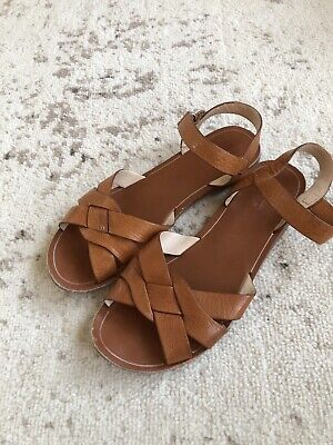 Zara Girls Brown Leather Sandals Size 36 US 4 Shoes