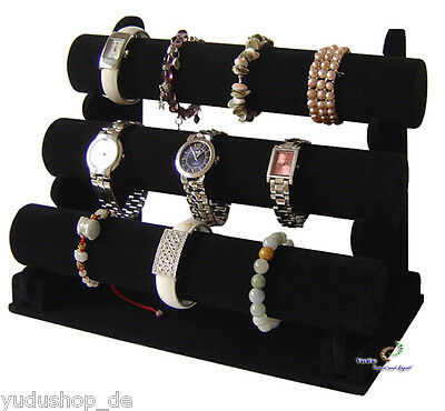 3er Jewellery Stand Jewelry for Watches Bracelet Velours