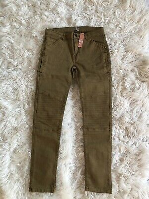 Zara Boys Motorcycle Skinny Jeans Copper Brown Gold Size 11-12 Years