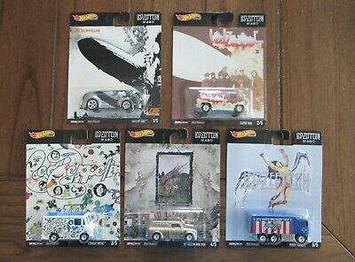 Hot Wheels Pop Culture Led Zeppelin Complete Set of 5 (Real Riders)