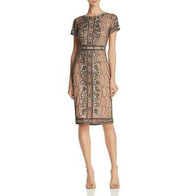 Adrianna Papell Womens Gray Sequined Cocktail Party Midi Dress 12 BHFO 5431