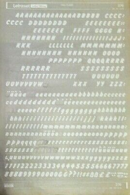 WHITE LETRASET Rub On Transfers LETTERS & NUMBERS 'FLASH 36pt' (#276) USED