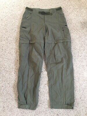 REI Convertible Belted Cargo Hiking Pants Shorts Green Womens 8 Tall UPF 50+