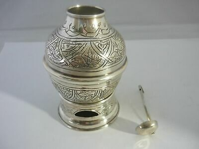 Stunning Rare Vintage Egyptian Hallmarked Large Solid Silver Bean Warmer