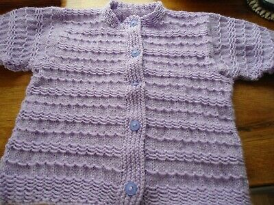"Girls cardigan age 4-5 ""Lilac colour"" handknitted brand new unworn"
