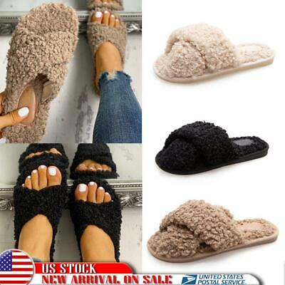 Womens Fluffy House Indoor Slippers Home Winter Open Toe Shoes Sandals Anti-Slip