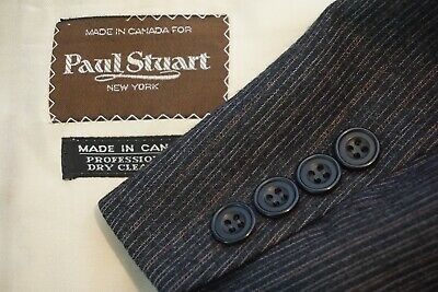 Paul Stuart VINTAGE Gray Red Stripd Wool 2 Pc Suit Jacket Pants Sz 41R