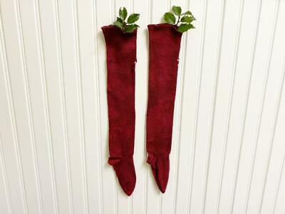 "Old Pair of Dark Christmas Red Wool Baby Stockings AAFA 16"" Vintage Antique"