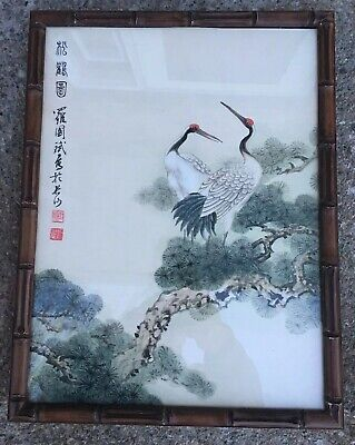 """Vintage Chinese """"Birds & Tree Watercolor on Paper Painting"""