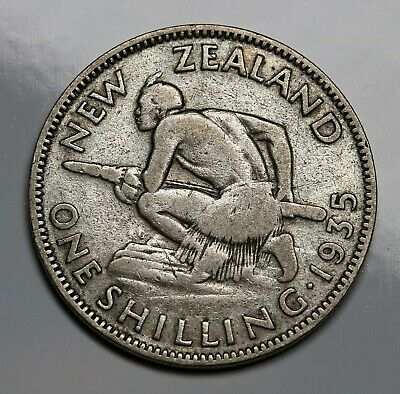 1935 New Zealand NZ Silver Shilling Coin George V KM# 3