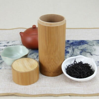 Bamboo Wood Tea  Container Jar Storage Box Candy Sugar Canister Tube Can