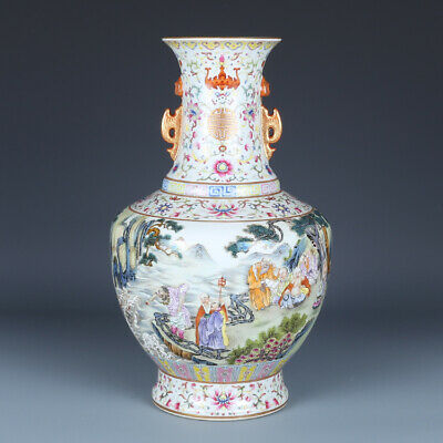 Fine Porcelain Chinese qianlong marked famille rose Ten Eight luohan Vase 13.9""