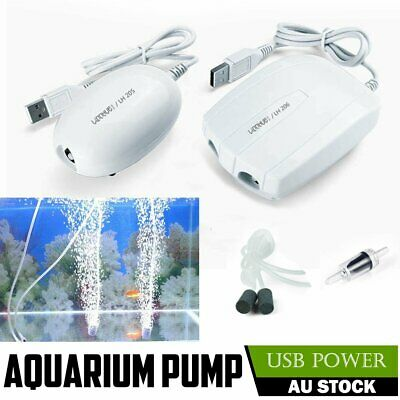 Fish Tank Air Pump 2.5/5W USB Powered Ultra Silent Quiet Marine Water Pumps AU