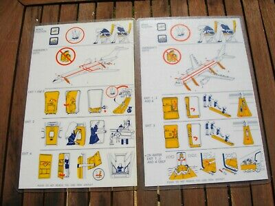 Australian Airlines Saircraft Fety Cards X 6