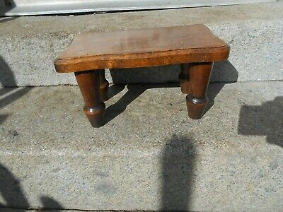 Vintage French  footstool/plant stand oak