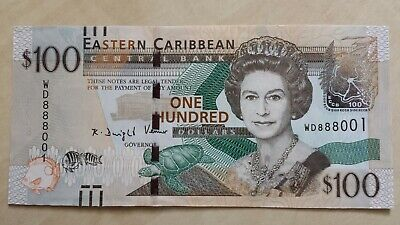 EAST CARIBBEAN STATES $100 Dollars 2016 P55b Lucky # WD 888001 UNC Banknote