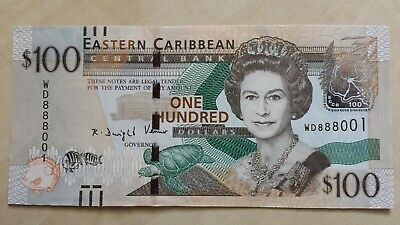 EAST CARIBBEAN STATES $100 Dollars 2016 P55b WD 888001 Lucky 888 UNC Banknote