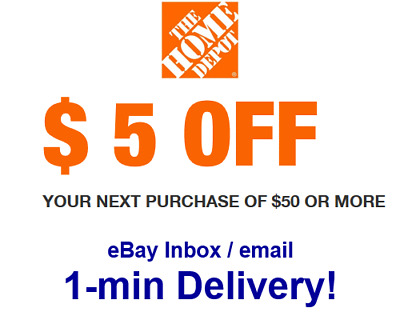 Home Depot $5 OFF $50 Promo.1Coupon (In-Store Only) Super Fast Sent in 1 min!!