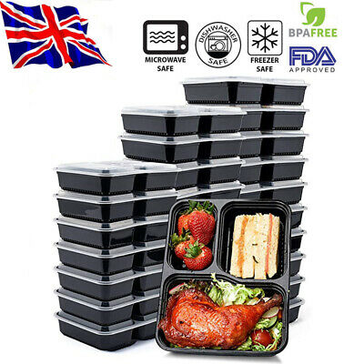 20X 3 Partition Meal Prep Food Containers Takeaway Microwave Storage Freezer Box