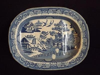 """Large Antique Blue Willow Platter with Well & Tree 17""""x13"""""""