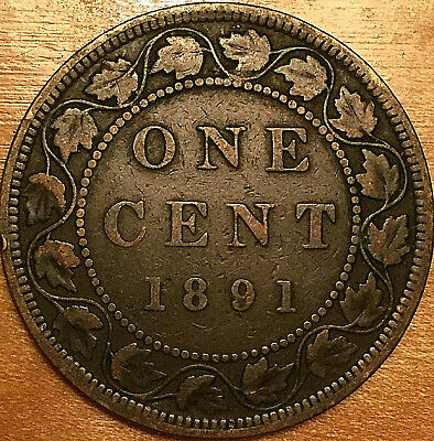 1891 CANADA LARGE 1 CENT PENNY LARGE 1 CENT COIN - SDLL Obverse #3 variety