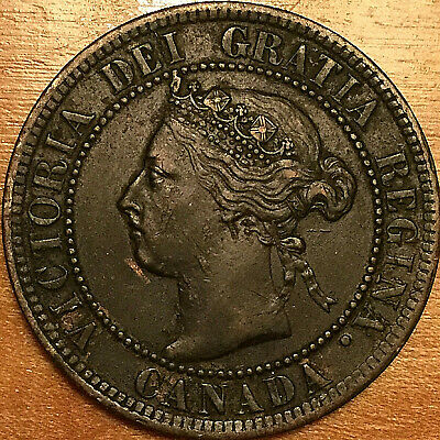 1892 CANADA LARGE 1 CENT PENNY LARGE 1 CENT COIN - Obverse #4 variety