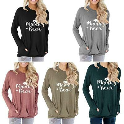 Plus Size Womens Long Sleeve Pullover T-shirts Pocket Ladies Loose Basic Tops