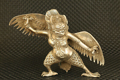 Chinese old Tibet silvercast eagle deity statue figure noble table decoration