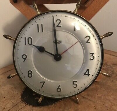 Antique Smiths Sectric Wall Clock - Brass Maritime Ships Wheel