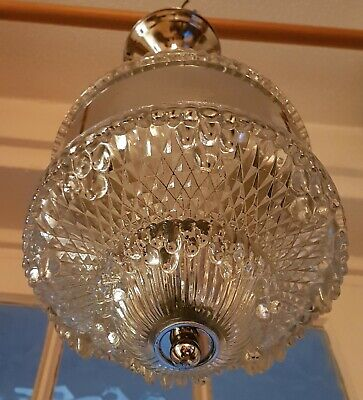 Amazing Pate-de-Verre 'Ice Glass' and Chrome ART DECO Ceiling Light, Chandelier