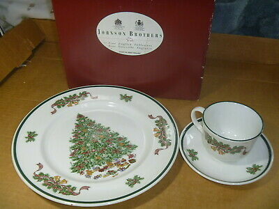 Johnson Brothers Victorian Christmas 3 Piece Setting Cup Saucer Plate England