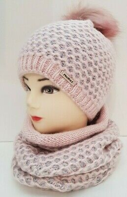 Women Lady Girl Winter Knitted Beanie Fluffy Pom Hat and Neck Warmer Set Ski Cap