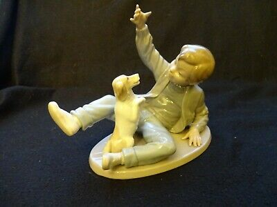 "Nao By Lladro ""Boy With Dog"" Collectable Retired Figurine"