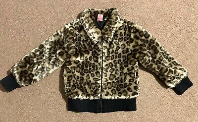 Adams Girl Fur Leopard Animal Print Coat Jacket Size 5 Years