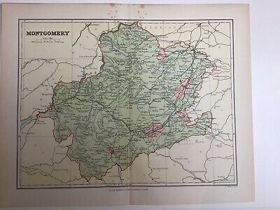 1893 Old Antique Colour Map Montgomery Wales, Railways, Roads, Canals Welsh Pool