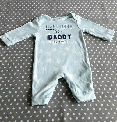 Cute Baby Boys Handsome Like Daddy Bluezoo Babygrow Sleepsuit Romper 0-3 Months