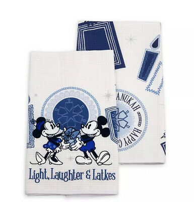 Disney Parks Holiday Mickey and Minnie Happy Chanukah Hanukkah Two Dish Towel