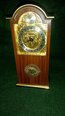 "Vintage Swiza ""Tempus Fugit"" Brass/Bronze Miniature Grandfather Clock With Alarm"