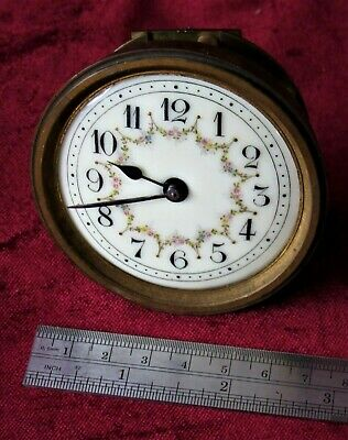 Very Small French 8 Day Platform Clock Movement & Enamel Dial