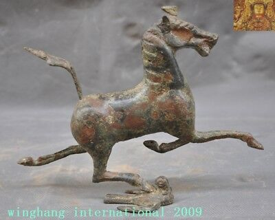 antique Chinese dynasty Bronze Ware Auspicious Animal Horse Tread Swallow statue