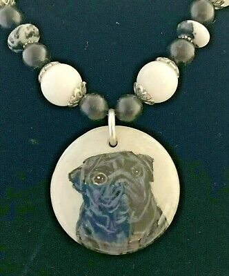 Pug Dog Necklace Handpainted Agate Sterling Silver Onyx White Agate Adjustable