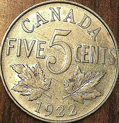 1922 CANADA 5 CENTS COIN - Nicer example!