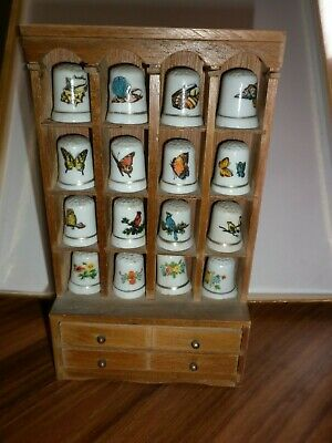 Thimbles & Mini Cabinet Vintage Birds Butterflies Flowers Shell Old Collectable