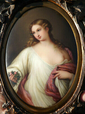 19thC Antique Hand Painted KPM Porcelain Plaque - Goddess FLORA after TITIAN