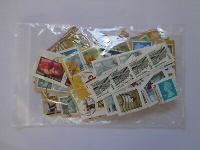 Job Lot of Used Franked 200+ Stamps from UK and World Mixed On Paper Unchecked