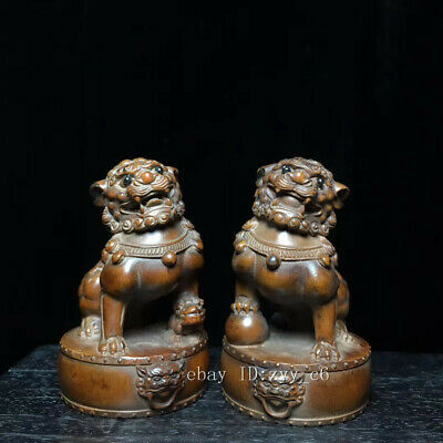 "2.8"" Chinese antiques Boxwood Hand-carved One pair of lion statues"