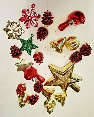 22 Piece Plastic Christmas Tree Decorations For Small Tree W/ Star Topper
